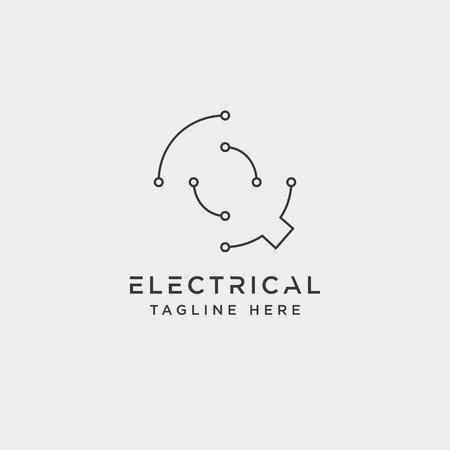 connect or electrical q logo design vector icon element isolated - vector