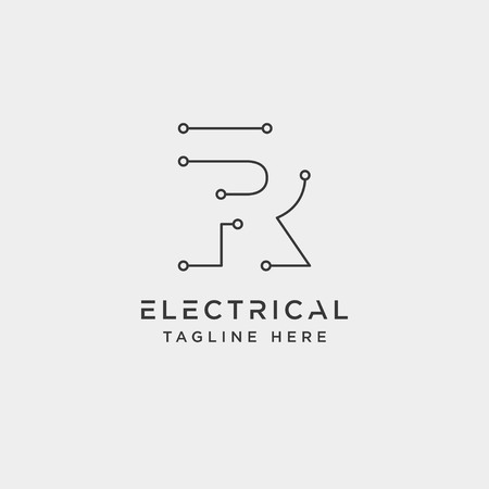 connect or electrical r logo design vector icon element isolated - vector Ilustração