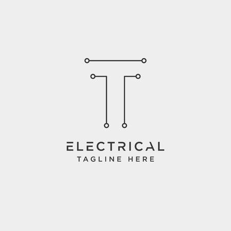 connect or electrical t logo design vector icon element isolated - vector