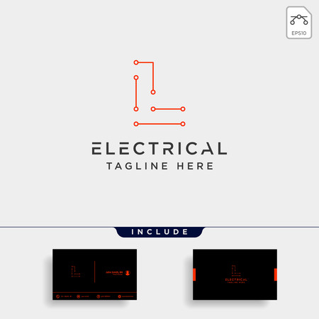 connect or electrical l logo design vector icon element isolated with business card include Ilustração