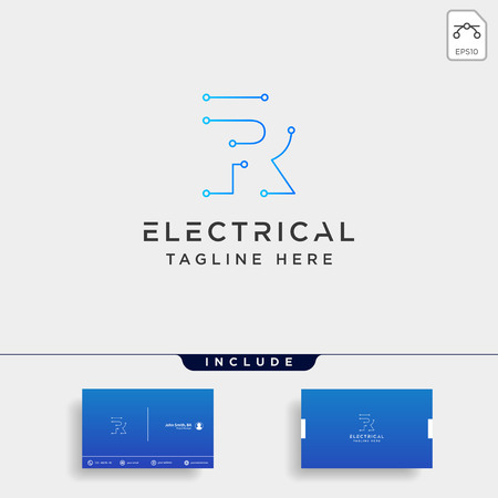 connect or electrical r logo design vector icon element isolated with business card include
