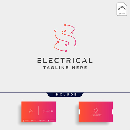 connect or electrical s logo design vector icon element isolated with business card include