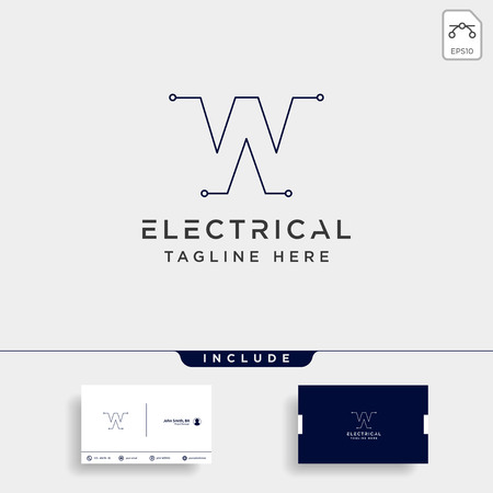 connect or electrical w logo design vector icon element isolated with business card include