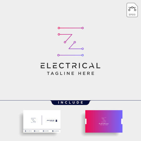 connect or electrical z logo design vector icon element isolated with business card include