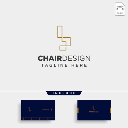 chair logo design vector icon illustration icon element isolated Ilustração