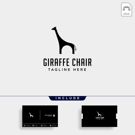 chair giraffe logo design vector icon illustration icon element isolated