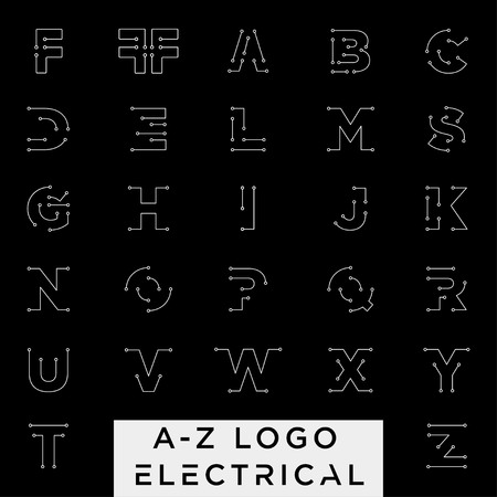 connect or electrical a-z logo design vector icon element isolated with business card include