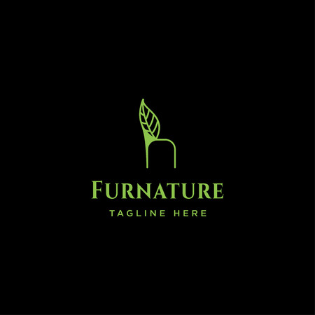 chair nature logo design with green color vector icon element isolated