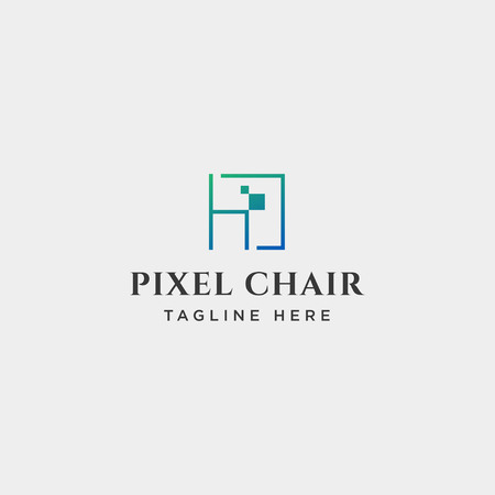 chair pixel logo design concept for technology company vector icon isolated Ilustração