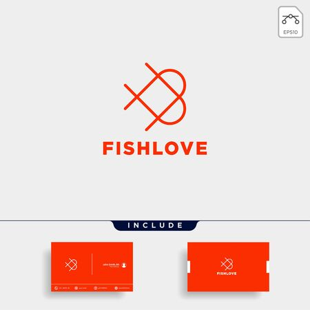 love fish logo design vector icon element isolated