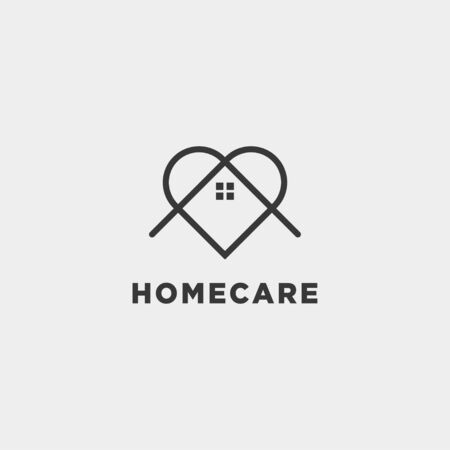 home love care logo design vector icon element isolated