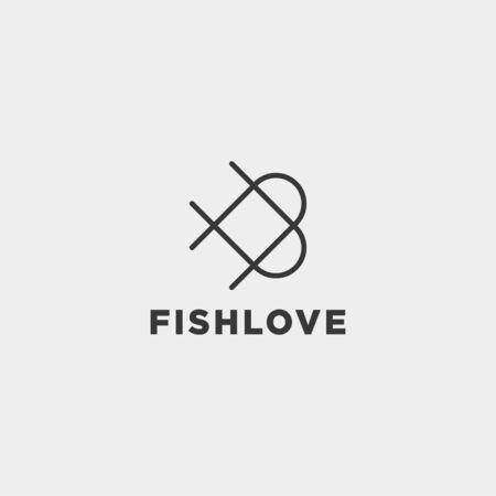 love fish logo design vector icon element isolated