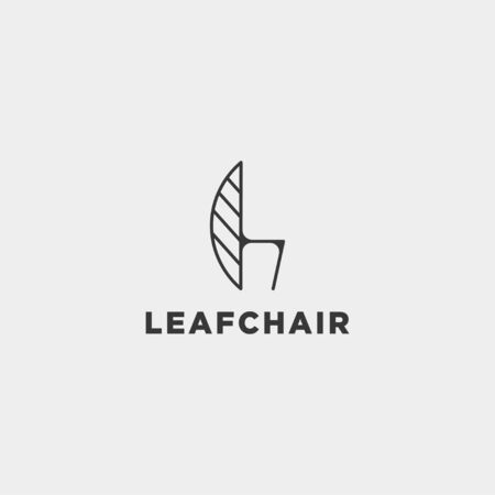 chair nature logo design with green color vector icon isolated Ilustração