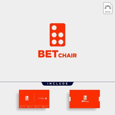 domino chair logo design vector icon illustration