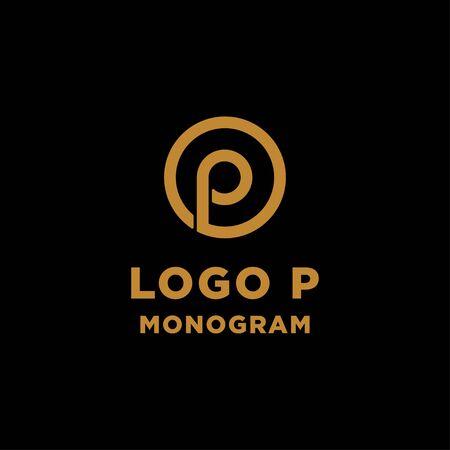 luxury initial p logo design vector icon element isolated