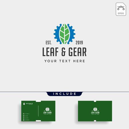 gear leaf logo design environment industrial vector icon element