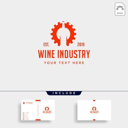 wine gear logo design alcohol factory vector icon