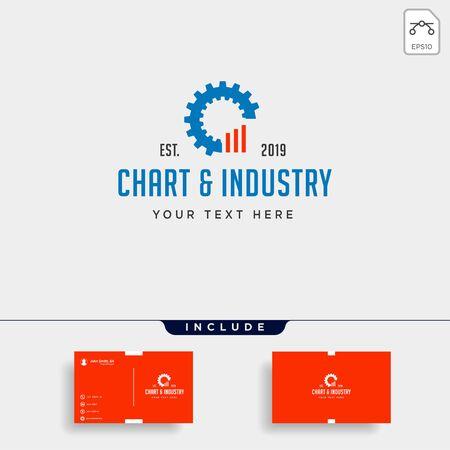 gear chart logo design industrial accounting vector icon Ilustração