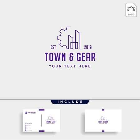 town industry logo design home factory vector icon