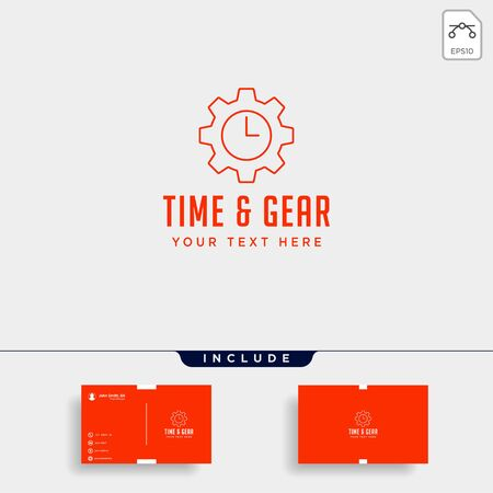 gear time logo line design management industrial vector icon element isolated