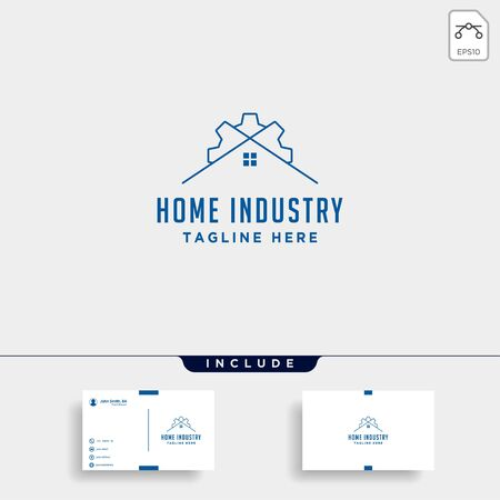 Home city gear logo design factory industry vector icon line isolated
