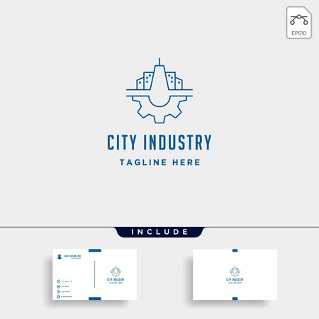 City Gear Logo Vector Industrial symbol icon design illustration
