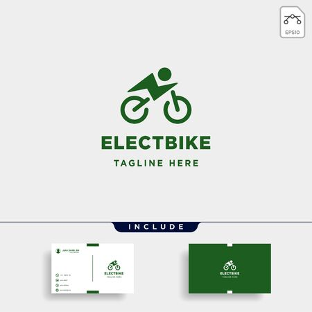 hipster bike electric logo design vector power vehicle icon symbol sign isolated Çizim