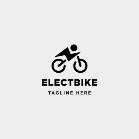 hipster bike electric logo design vector power vehicle icon symbol sign isolated Stock Illustratie