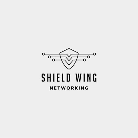 shield wings technology logo design vector internet defender symbol sign icon isolated