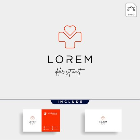 medical love logo design vector isolated icon
