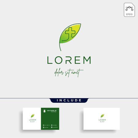 leaf cross logo design vector nature medicine Illustration