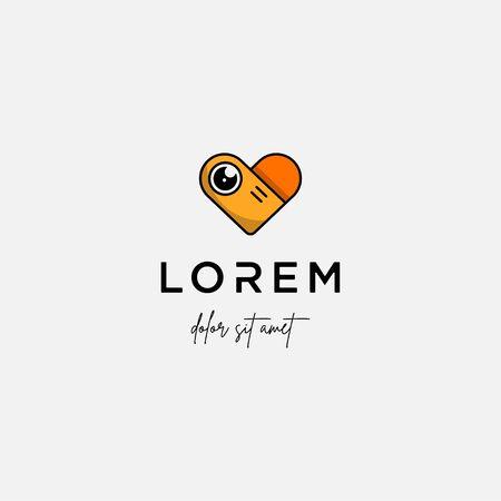 Camera Love Logo Template Vector Symbol Design
