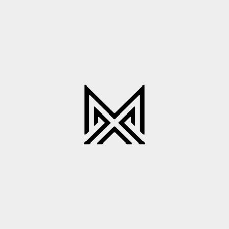 Letter M AM MA MM Monogram Logo Design Minimal Icon With Black Color  イラスト・ベクター素材