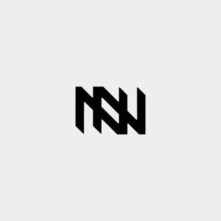 Letter N NN Z ZZ Monogram Logo Design Minimal Icon With Black Color