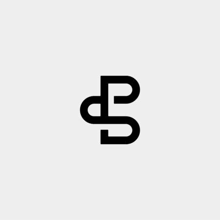 Letter PS SB B BS Logo Design Simple Vector Elegant Ilustração