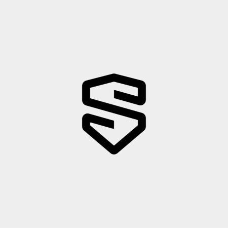 Letter S SS Shield Logo Design Simple Vector Elegant