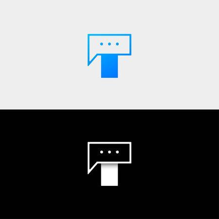 Letter T Chat Bubble Logo Template Vector Design Message Icon