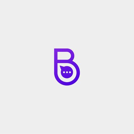 Letter B Chat Talk Logo Template Vector Design Message Icon Illustration