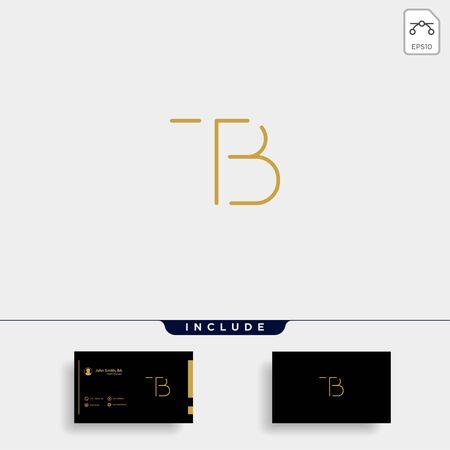Letter TB BT T B Logo Design Simple Vector Elegant Illusztráció