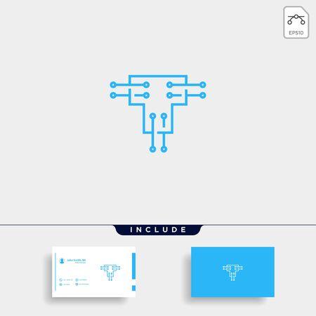 Letter T Logo Tech Wifi Vector Design Internet Icon