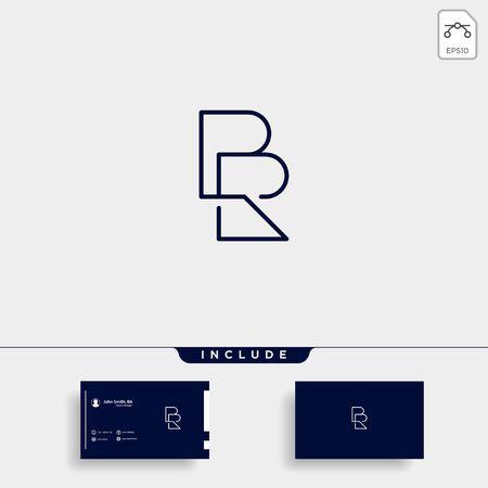 Letter BR RB R B Logo Design Simple Vector Elegant With Gradient Colour Çizim
