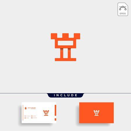 Letter T Castle Logo Design Vector Defense Icon