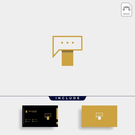 Letter T Chat Logo Template Vector Design Message Icon Stok Fotoğraf - 133783067