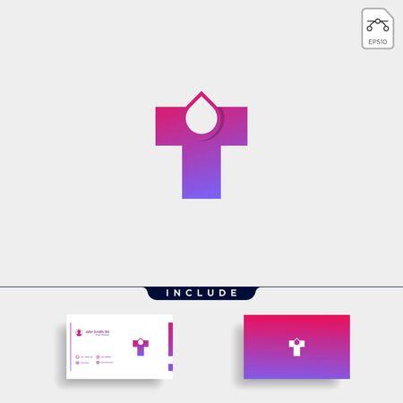 Letter T Logo With Drop Water Vector Design Illustration Stok Fotoğraf - 133783160