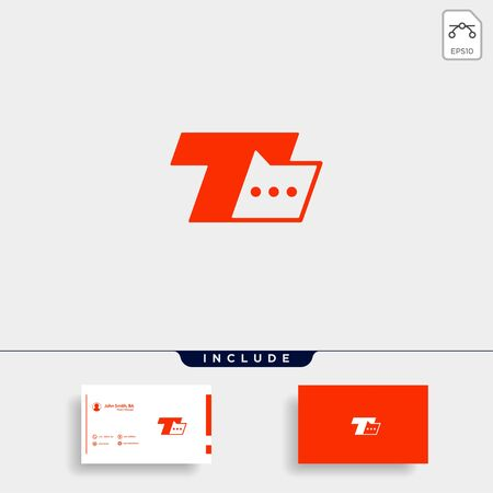Letter T Chat Logo Template Vector Design Message Icon Stok Fotoğraf - 133783166