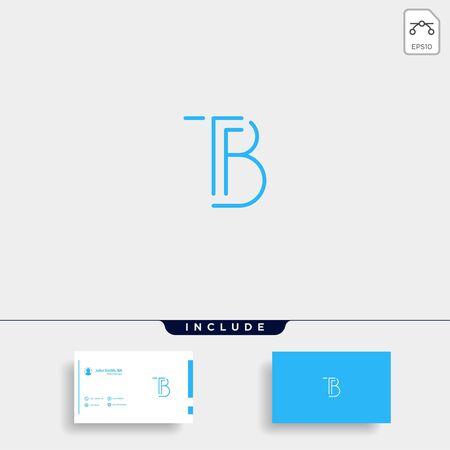 Letter TB BT T B Logo Design Simple Vector Elegant Çizim