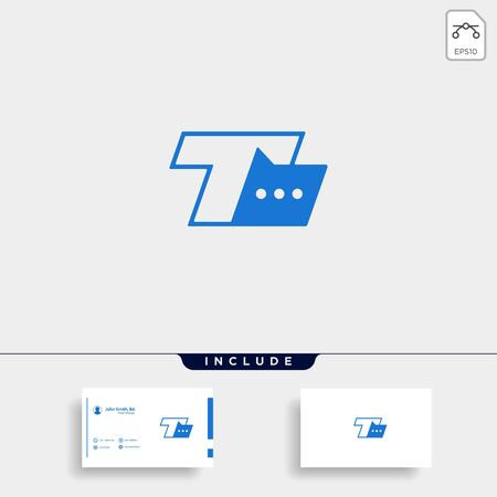 Letter T Chat Logo Template Vector Design Message Icon Stok Fotoğraf - 133783167