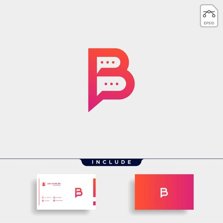 Letter B Chat Talk Logo Template Vector Design Message Icon Stok Fotoğraf - 133783173