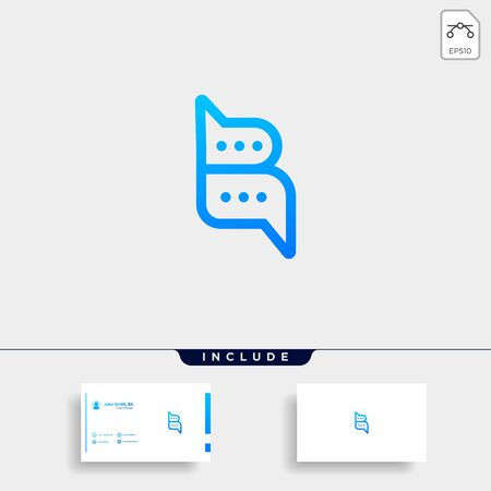 Letter B Chat Talk Logo Template Vector Design Message Icon Stok Fotoğraf - 133783175
