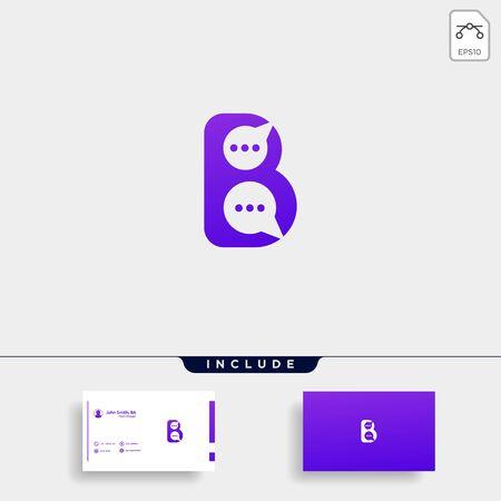 Letter B Chat Talk Logo Template Vector Design Message Icon Çizim
